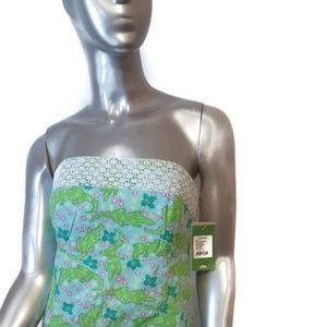 New-LILLY PULITZER Alberta Gator Turquoise Dress 6